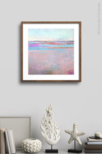 "Pink abstract beach wall art ""Marathon Miles,"" canvas art print by Victoria Primicias, decorates the wall."