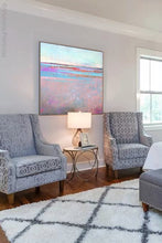 "Load image into Gallery viewer, Pink abstract beach painting ""Marathon Miles,"" canvas wall art by Victoria Primicias, decorates the bedroom."