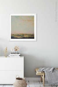 "Modern abstract beach artwork ""Martini Morning,"" printable wall art by Victoria Primicias, decorates the entryway."