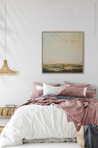 "Modern abstract beach artwork ""Martini Morning,"" printable wall art by Victoria Primicias, decorates the bedroom."