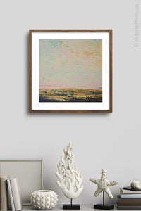 "Modern abstract beach artwork ""Martini Morning,"" printable wall art by Victoria Primicias, decorates the wall."