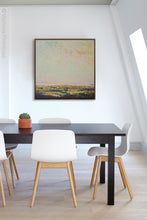 "Load image into Gallery viewer, Modern abstract beach artwork ""Martini Morning,"" printable wall art by Victoria Primicias, decorates the office."