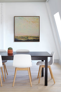 "Modern abstract beach artwork ""Martini Morning,"" printable wall art by Victoria Primicias, decorates the office."