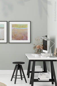 "Pink abstract ocean painting ""Melon Melee,"" metal print by Victoria Primicias, decorates the office."