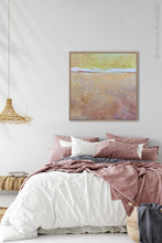 "Load image into Gallery viewer, Pink abstract beach artwork ""Melon Melee,"" canvas art print by Victoria Primicias, decorates the bedroom."
