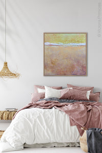 "Pink abstract beach artwork ""Melon Melee,"" canvas art print by Victoria Primicias, decorates the bedroom."