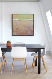"Pink abstract beach wall decor ""Melon Melee,"" wall art print by Victoria Primicias, decorates the office."