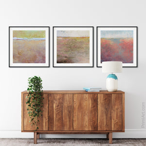 "Pink abstract beach wall decor ""Melon Melee,"" wall art print by Victoria Primicias, decorates the foyer."