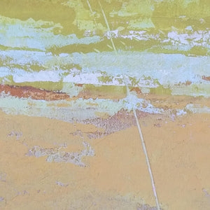 "Closeup detail of pink abstract ocean painting ""Melon Melee,"" metal print by Victoria Primicias"