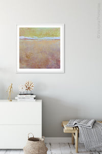 "Pink abstract beach artwork ""Melon Melee,"" canvas art print by Victoria Primicias, decorates the hallway."