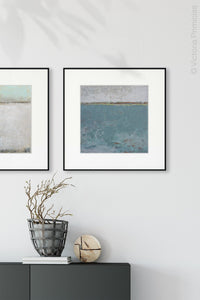 "Bluegreen abstract landscape art ""Merchant Crossing,"" canvas art print by Victoria Primicias, decorates the hallway."