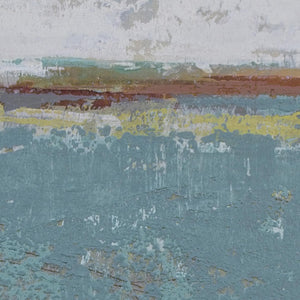 "Closeup detail of bluegreen abstract ocean paintings ""Merchant Crossing,"" canvas print by Victoria Primicias"