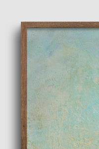 "Closeup detail of square abstract ocean wall art ""Merchant Skies,"" wall art print by Victoria Primicias"
