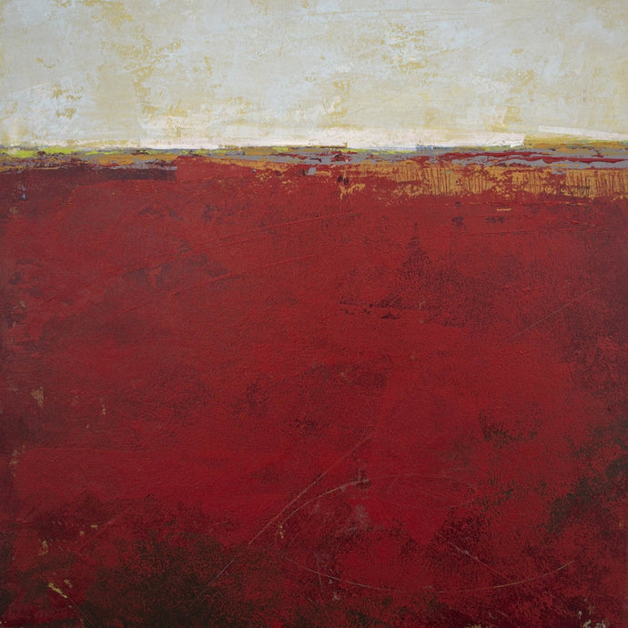 Red abstract coastal wall decor