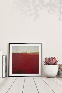 "Red abstract coastal wall decor ""Merlot Passage,"" canvas wall art by Victoria Primicias, decorates the shelf."