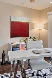 "Red abstract beach artwork ""Merlot Passage,"" canvas art print by Victoria Primicias, decorates the office."