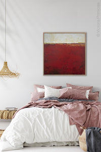 "Red abstract coastal wall decor ""Merlot Passage,"" canvas wall art by Victoria Primicias, decorates the bedroom."