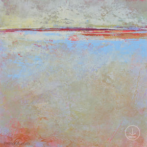 "Contemporary beige abstract beach painting ""Migrant Shores,"" printable art by Victoria Primicias"