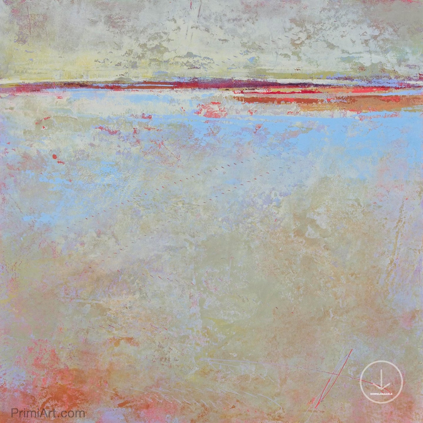 Contemporary beige abstract beach painting