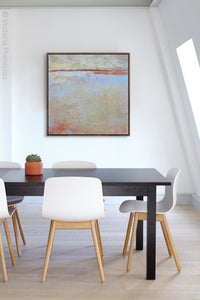 "Contemporary coastal abstract ocean painting ""Migrant Shores,"" canvas art print by Victoria Primicias, decorates the office."