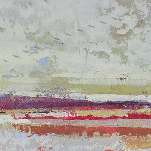 "Closeup detail of contemporary coastal abstract ocean painting ""Migrant Shores,"" canvas art print by Victoria Primicias"