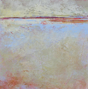 "Contemporary coastal abstract beach painting ""Migrant Shores,"" canvas print by Victoria Primicias"