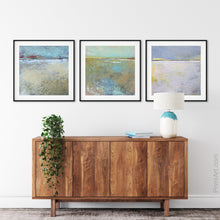 "Load image into Gallery viewer, Large abstract landscape art ""Mint Melody,"" canvas print by Victoria Primicias, decorates the entryway."