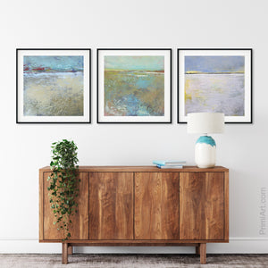 "Large abstract landscape art ""Mint Melody,"" canvas print by Victoria Primicias, decorates the entryway."