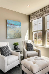 "Large abstract ocean painting ""Mint Melody,"" canvas wall art by Victoria Primicias, decorates the living room."