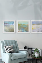 "Load image into Gallery viewer, Large abstract ocean art ""Mint Melody,"" canvas art print by Victoria Primicias, decorates the living room."
