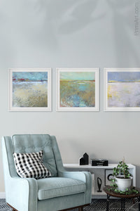 "Large abstract ocean art ""Mint Melody,"" canvas art print by Victoria Primicias, decorates the living room."