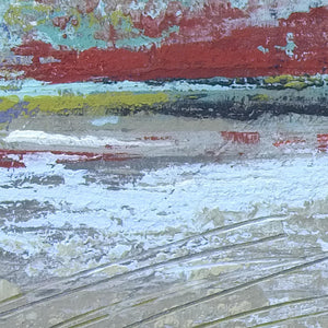 "Closeup detail of large abstract landscape art ""Mint Melody,"" canvas print by Victoria Primicias"