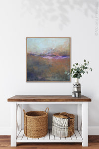 "Orange abstract landscape painting ""Minuet,"" wall art print by Victoria Primicias, decorates the hallway."