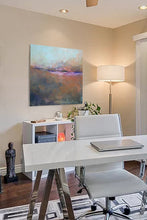 "Load image into Gallery viewer, Orange abstract ocean painting ""Minuet,"" fine art print by Victoria Primicias, decorates the office."