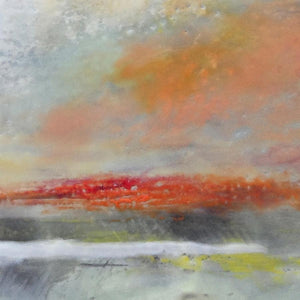 "Closeup detail of neutral color abstract landscape art ""Missing Stream,"" canvas print by Victoria Primicias"