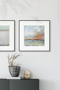 "Neutral color coastal wall art ""Missing Stream,"" canvas art print by Victoria Primicias, decorates the hallway."