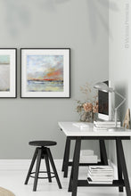 "Load image into Gallery viewer, Neutral color abstract landscape art ""Missing Stream,"" canvas print by Victoria Primicias, decorates the office."