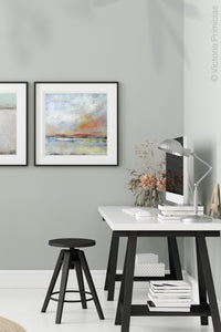 "Neutral color abstract landscape art ""Missing Stream,"" canvas print by Victoria Primicias, decorates the office."