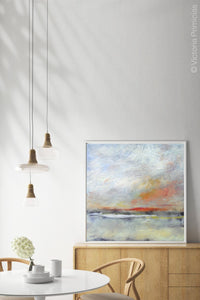 "Neutral color abstract landscape painting ""Missing Stream,"" canvas wall art by Victoria Primicias, decorates the dining room."