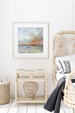"Load image into Gallery viewer, Neutral color abstract landscape painting ""Missing Stream,"" canvas wall art by Victoria Primicias, decorates the bedroom."