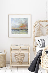 "Neutral color abstract landscape painting ""Missing Stream,"" canvas wall art by Victoria Primicias, decorates the bedroom."