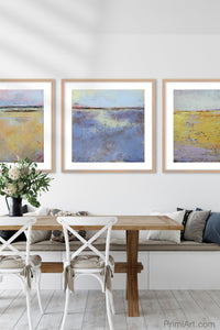 "Coastal abstract beach artwork ""Morning Gallery,"" downloadable art by Victoria Primicias, decorates the dining room."