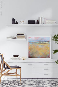 "Coastal abstract ocean wall art ""Morning Gallery,"" digital download by Victoria Primicias, decorates the office."