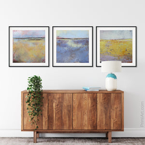 "Yellow abstract landscape painting ""Morning Gallery,"" fine art print by Victoria Primicias, decorates the entryway."