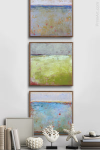 "Impressionist abstract landscape painting ""Naval Circus,"" downloadable art by Victoria Primicias, decorates the entryway."