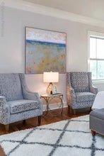 "Load image into Gallery viewer, Impressionist abstract beach artwork ""Naval Circus,"" digital artwork by Victoria Primicias, decorates the bedroom."