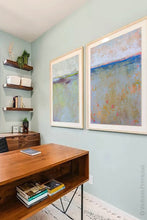 "Load image into Gallery viewer, Colorful abstract beach artwork ""Naval Circus,"" fine art print by Victoria Primicias, decorates the office."