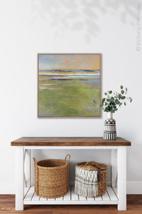 "Green abstract landscape art ""Novel Sheets,"" wall art print by Victoria Primicias, decorates the entryway."
