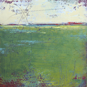 "Green abstract landscape painting ""On Course,"" fine art print by Victoria Primicias"