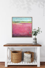 "Load image into Gallery viewer, Pink abstract beach artwork ""Painted Lady,"" giclee print by Victoria Primicias, decorates the entryway."